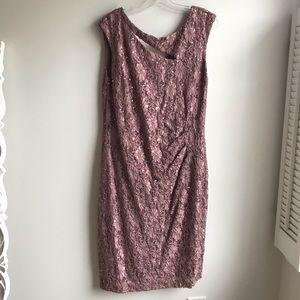 Connected Apparel Mauve Sequined Lace Sheath Dress